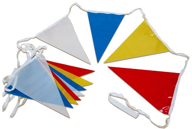 üçgen ince branda bayrak renkli İpe Dizili Bayrak