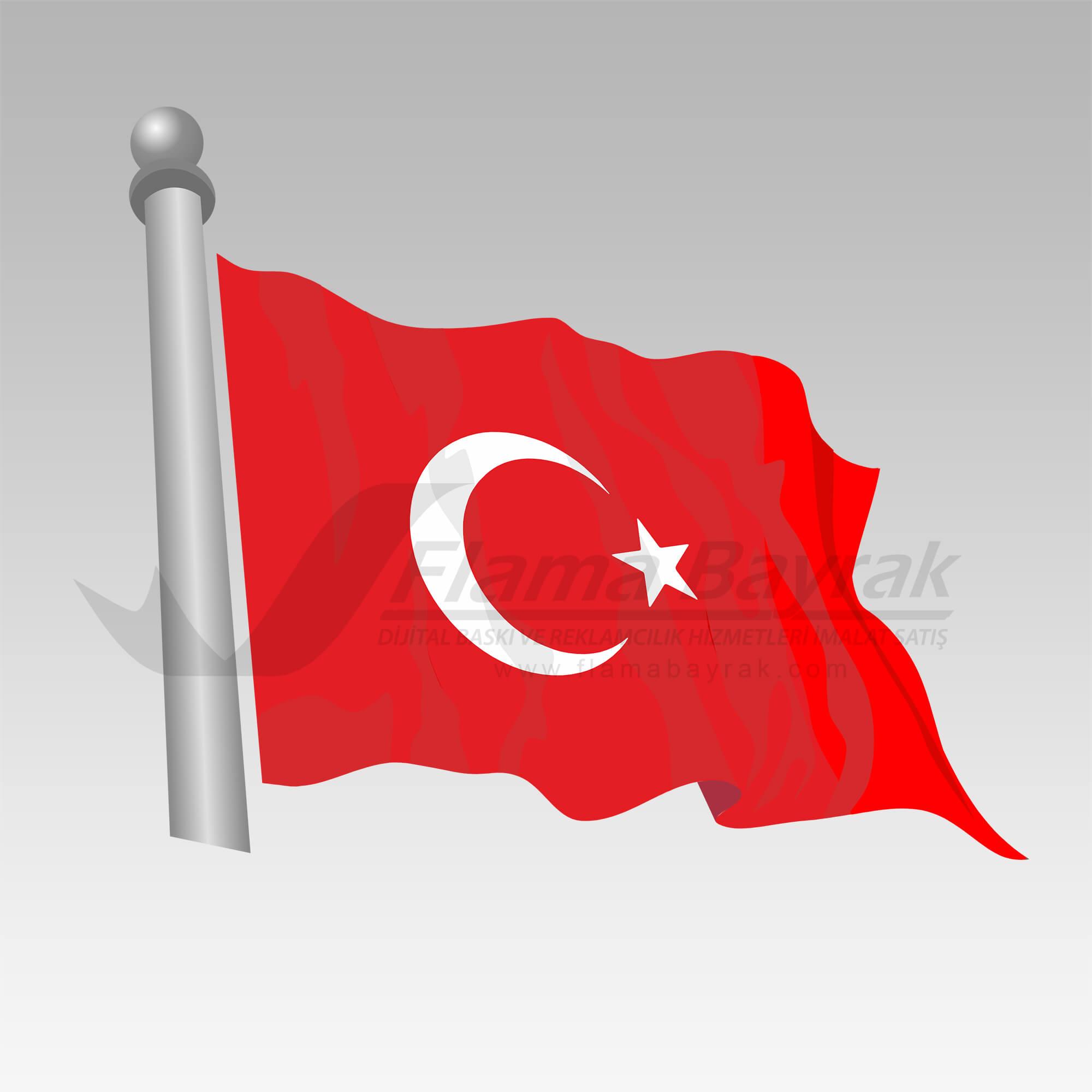 Dalgalı Türk Bayrağı Türk Bayrağı
