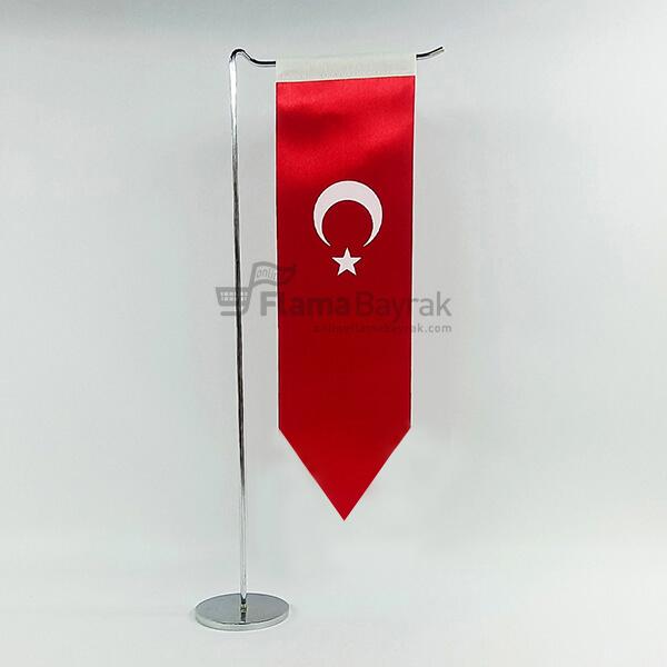L Tipi Direkli Sivri uc Turk Masa Bayragi Türk Bayrağı